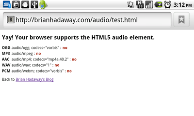 Android 2.2 HTML5 Audio Support